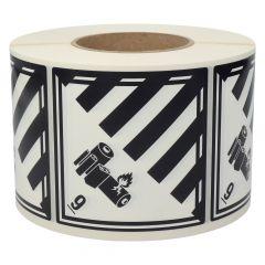 Gefahrgutetiketten, Lithium-Batterien, 9, Polyethylen, weiß/schwarz-schwarz, 100 x 100 mm, 1000 Etiketten