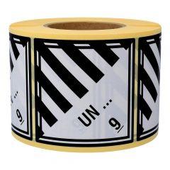 Gefahrgutetiketten nach Kundenwunsch, Klasse 9 - Verschiedene gefährliche Stoffe und Gegenstände, weiß/schwarz, 100 x 100 mm