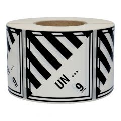 customized dangerous goods labels, class 9, polypropylene, white, permanent, 100.00 x 100.00 mm