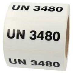 Gefahrgutetiketten, UN 3480, Polypropylen, weiß-schwarz, 100 x 50 mm, 1000 Etiketten