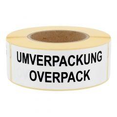 Gefahrgutetiketten, Umverpackung / Overpack, Papier, weiß-schwarz, 150 x 50 mm, 500 Etiketten
