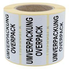 Gefahrgutetiketten, Umverpackung / Overpack, Papier, weiß-schwarz, 100 x 50 mm, 1000 Etiketten