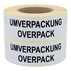 Gefahrgutetiketten, Umverpackung / Overpack, Papier, weiß-schwarz, 150 x 50 mm, 1000 Etiketten
