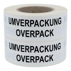 Gefahrgutetiketten, Umverpackung / Overpack, Polyethylen, weiß-schwarz, 150 x 50 mm, 1000 Etiketten