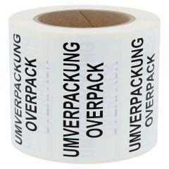 Gefahrgutetiketten, Umverpackung / Overpack, Polypropylen, weiß-schwarz, 100 x 50 mm, 1000 Etiketten