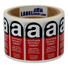 Hazardous Labels, Caution asbestos hazard, polypropylene, red/black-white, 25 x 60 mm, 500 labels