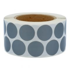 round textile labels (nylon), grey, permanent, Ø 30 mm, 3 inch (76.2 mm) roll core, 1000 labels on 1 roll(s)