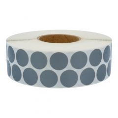 round textile labels (nylon), grey, permanent, Ø 30 mm, 3 inch (76.2 mm) roll core, 5000 labels on 1 roll(s)