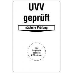 Grundplaketten, UVV geprüft - Nächste Prüfung, Vinylfolie, weiß schwarz, 76,2 x 50,8 mm, 100 St.