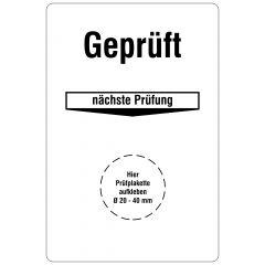Grundplaketten, Geprüft - Nächste Prüfung, Vinylfolie, weiß schwarz, 76,2 x 50,8 mm, 100 St.