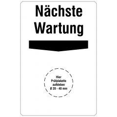 Grundplaketten, Nächste Wartung, Vinylfolie, weiß schwarz, 76,2 x 50,8 mm, 100 St.