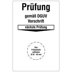 Grundplaketten, Prüfung gemäß DGUV Vorschrift - nächste Prüfung, Vinylfolie, weiß schwarz, 76,2 x 50,8 mm, 100 St.