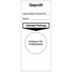 Grundplaketten, geprüft nach DGUV - durch - nächste Prüfung, Vinylfolie, weiß schwarz, 40 x 95 mm, 100 St.