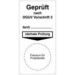 Grundplaketten, Geprüft nach DGUV Vorschrift 3, Vinylfolie, weiß schwarz, 40 x 80 mm, 100 St.