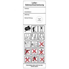 Grundplaketten, Leiter-Gebrauchsanweisung, Folie, weiß schwarz/rot, 50 x 150 mm, 100 St.