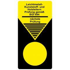 """Grundplaketten """"Leitern und Tritte"""", Prüfung gem. BGI 694, Vinylfolie, gelb schwarz, 40 x 80 mm, 100 St."""