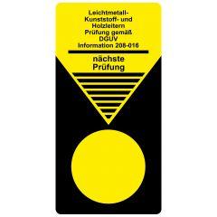 """Grundplaketten """"Leitern und Tritte"""", Prüfung gem. DGUV Information 208-016, Vinylfolie, gelb schwarz, 40 x 80 mm, 100 St."""