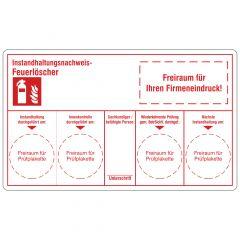 Instandhaltungsnachweis-Etiketten nach Kundenwunsch für Feuerlöscher, Polypropylen, weiß, permanent, weiß-rot, 100 x 60 mm, 1000 Etiketten