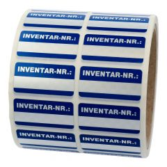 inventory labels, polyester checkerboard effect, silver-dark blue, 38 x 19 mm, Inventar-Nr.:, 1000 labels