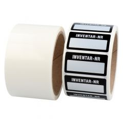 inventory labels, polyester VOID effect, silver-black, 50.8 x 25.4 mm, Inventar-Nr.:, 500 labels