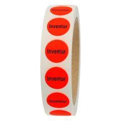 stock-taking label, paper, bright red-black, Ø 20 mm, Inventur, 1000 labels