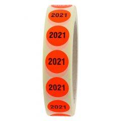 stock-taking label, paper, bright red-black, Ø 20 mm, 2021, 1000 labels
