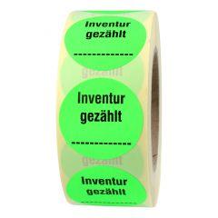 stock-taking label, paper, bright green-black, Ø 50 mm, Inventur gezählt, 1000 labels