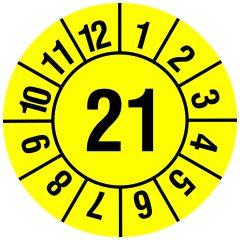 Jahresprüfplakette, Monate - Jahreszahl (JJ), Vinylfolie, gelb schwarz, Ø 20 mm, 2021, 216 St.