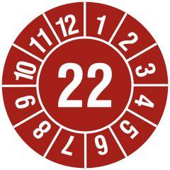 Jahresprüfplakette, Monate - Jahreszahl (JJ), Vinylfolie, rot weiß, Ø 30 mm, 2022, 1000 St.