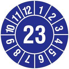 Jahresprüfplakette, Monate - Jahreszahl (JJ), Vinylfolie, blau weiß, Ø 20 mm, 2023, 216 St.