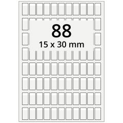 cable markers A4 sheet for laser printers, polyester, permanent, extra clear, 15 x 30 mm, labeling field: white, 15 x 6 mm, 8800 pcs
