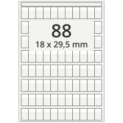 Kabelmarkierer DIN A4 für Laserdrucker, Polyester, permanent, hochklar, 18 x 29,5 mm, Schriftfeld: weiß, 18 x 8.5, 8800 Stück