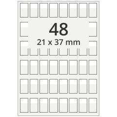 Kabelmarkierer DIN A4 für Laserdrucker, Polyester, permanent, hochklar, 21 x 37 mm, Schriftfeld: weiß, 21 x 13, 4800 Stück