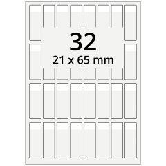 Kabelmarkierer DIN A4 für Laserdrucker, Polyester, permanent, hochklar, 21 x 65 mm, Schriftfeld: weiß, 21 x 13, 3200 Stück