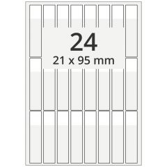 cable markers A4 sheet for laser printers, polyester, permanent, extra clear, 21 x 95 mm, labeling field: white, 21 x 25 mm, 2400 pcs