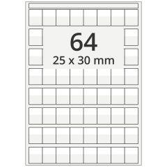 Kabelmarkierer DIN A4 für Laserdrucker, Polyester, permanent, hochklar, 25 x 30 mm, Schriftfeld: weiß, 25 x 13, 6400 Stück