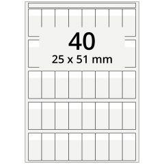 Kabelmarkierer DIN A4 für Laserdrucker, Polyester, permanent, hochklar, 25 x 51 mm, Schriftfeld: weiß, 25 x 13, 4000 Stück