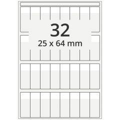 Kabelmarkierer DIN A4 für Laserdrucker, Polyester, permanent, hochklar, 25 x 64 mm, Schriftfeld: weiß, 25 x 17, 3200 Stück