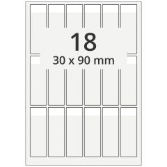cable markers A4 sheet for laser printers, polyester, permanent, extra clear, 30 x 90 mm, labeling field: white, 30 x 15 mm, 1800 pcs