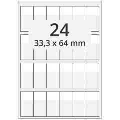 Kabelmarkierer DIN A4 für Laserdrucker, Polyester, permanent, hochklar, 33,3 x 64 mm, Schriftfeld: weiß, 33,3x22, 2400 Stück