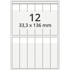 cable markers A4 sheet for laser printers, polyester, permanent, extra clear, 33.3 x 136 mm, labeling field: white, 33.3 x 25.5 mm, 1200 pcs