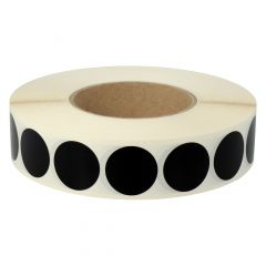 vinyl, black, permanent, Ø 30 mm, 3 inch (76.2 mm) roll core, 3000 adhesive dots on 1 roll(s)