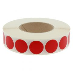vinyl, red, permanent, Ø 30 mm, 3 inch (76.2 mm) roll core, 3000 adhesive dots on 1 roll(s)
