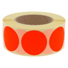 paper, bright red, permanent, Ø 50 mm, 3 inch (76.2 mm) roll core, 1000 adhesive dots on 1 roll(s)