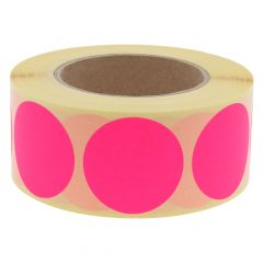 paper, bright pink, permanent, Ø 50 mm, 3 inch (76.2 mm) roll core, 1000 adhesive dots on 1 roll(s)