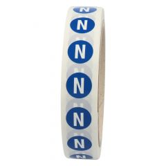 conductor labels, IEC 60446, polyester, blue-white, Ø 15 mm, N, neutral conductor threephase AC, 1000 labels