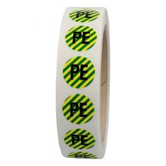 conductor labels, DIN VDE 0100-540, polyester, green/yellow striped-black, Ø 15 mm, PE, protective conductor, 1000 labels