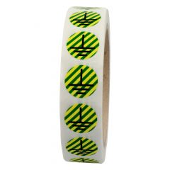 conductor labels, polyester, green/yellow striped-black, Ø 15 mm, ground, 1000 labels