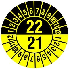 Mehrjahresprüfplakette, 2 Jahresangaben, Monate, Polyethylen/Dokumentenfolie, gelb schwarz, Ø 30 mm, 2021-2022