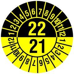 Mehrjahresprüfplakette, 2 Jahresangaben, Monate, Vinylfolie, gelb schwarz, Ø 20 mm, 2021-2022